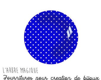 Navy Blue with white dots 2 Cabochons fancy glass Ref1-18 mm Theme various treble clef note