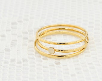 Stackable Ring Set, Gold Filled Ring, Dainty 3 gold rings, knuckle gold ring, enamel ring, delicate jewelry.