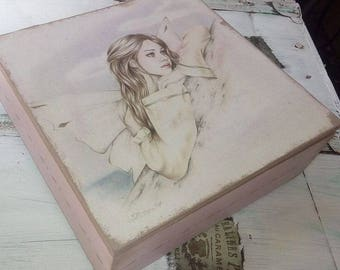 Decoupage wooden box with fairy