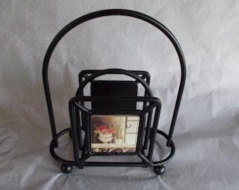 Vintage Heavy Metal Tile Napkin Holder