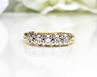 Vintage Ladies Diamond Wedding Ring 0.15ctw Diamond Wedding Band 14K Two Tone Gold Diamond Anniversary Ring Gold Stacking Ring Size 5