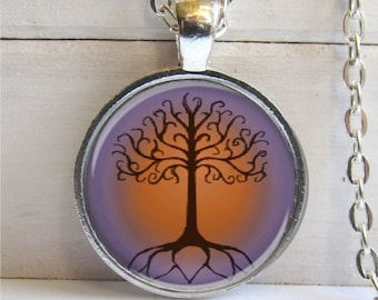Tree Of Life Pendant, Celtic Tree Of Life Necklace, SIlver And Glass Charm, Tree Necklace