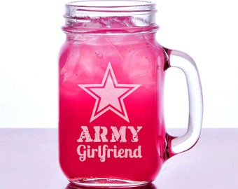 Army Girlfriend Gift Idea Engraved Mason Jar 16oz Personalized Drinking Glass for Girlfriend from Boyfriend Romantic Couples Gift Valentine