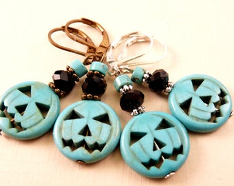 Halloween Earrings Halloween Jewelry Pumpkin Earrings Beaded Jewelry Pumpkin Jewelry Turquoise Earrings Turquoise Jewelry Beaded Earrings