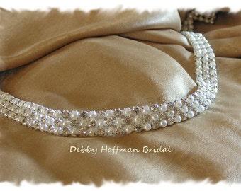 Crystal Pearl Ribbon Headband, Wedding Headband, Headpiece, Pearl Rhinestone Bridal Headband, Pearl Wedding Hair Piece, No. 4090HB, SALE