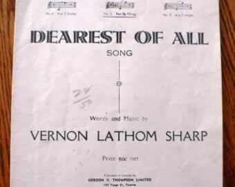 vintage music  ... DEAREST OF ALL sheet  vintage music booklet  ...
