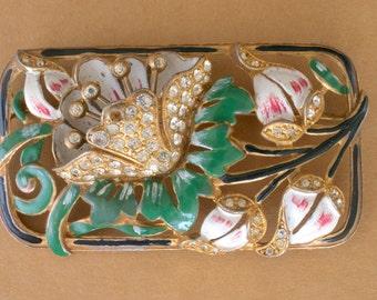 Art Nouveau Floral Enamel Rhinestone Pin 30s Vintage