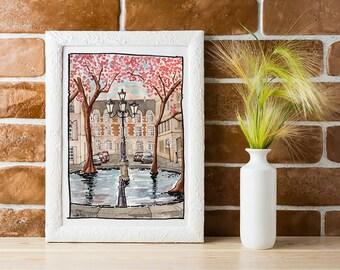 Paris Watercolor Print, Paris Cherry Blossom Fine Art Print, Paris in Spring Watercolour Illustration, Paris Urban Sketch, Paris Art Print
