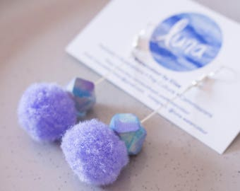 Pompom and Watercolour Bead Drop 'Rita' Earrings