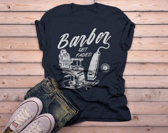 Men's Barber T-Shirt Get Faded Vintage Tee Chair Clippers Shirt For Barbers