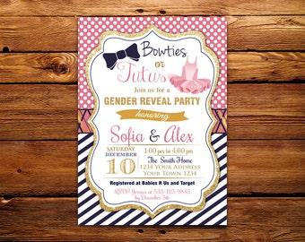 Tutu or Tie or Gender Reveal Invitation. Gender Reveal Baby Shower. Gender Reveal Invite. Gender Reveal Shower. Pink Blue Navy Gold Glitter.