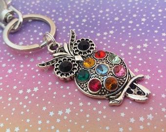 Owl keyring, bag charm, multicoloured charm