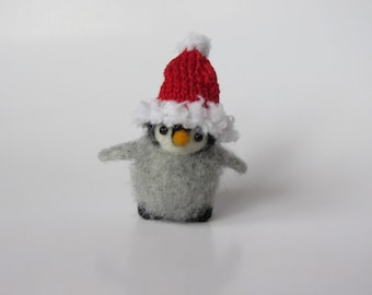 Little Cute Penguin in hat, Needle Felted Penguin. Felted Toy. Figurines Sculpture Animals, Christmas, New Year