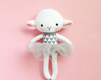 Lamb rag doll - Stuffed lamb - Handmade lamb doll - Stuffed toy - plush doll - Cloth Doll -  Stuffed doll - with a tutu.