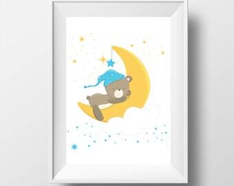 Teddy bear-Printable art-Teddy bear print-Teddy bear printable-Teddy bear nursery decor-Nursery moon and stars-Nursery wall art-Nursery art
