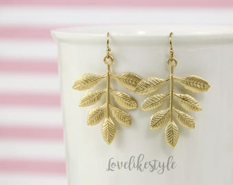 Matte Gold Leaf Earrings, Gold Leaves Earrings, Simple Gold Dangle Earrings,Bridesmaid Gift, Leaf Branch Earrings