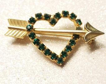Vintage Dark Green Rhinestone Heart Pin Brooch Goldtone