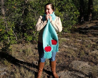 Apple Scarf for Teachers in Bright Aqua Blue with Shiny Red Apple, Teacher Professor Christmas Gift, Birthday Gift, End of Year School Gift