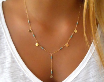 Turquoise Lariat Necklace; Layering Necklace; 14K Gold Filled Necklace; Coin Necklace; Turquoise Y Necklace; Delicate Gold Necklace;