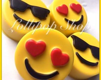 12 Emoji Chocolate covered oreos (Birthday, Emoji, Emoji party favors)