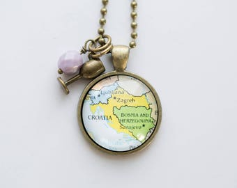 Map of Croatia Necklace - Croatian Map Pendant Necklace - Custom Jewelry - Travel Jewelry Missions Adoption Teacher Gift Goegraphy Zagreb