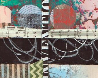 Crescendo - Collage avec papiers 5 x 7 sur 8 x 10 support peint