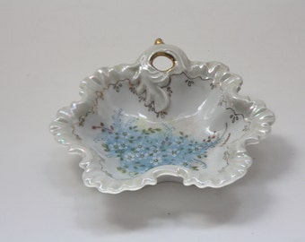 Vintage Scalloped Hand Painted Trinket/Candy Dish in Blue and White with Gold Accents, Floral, Decorative Tray