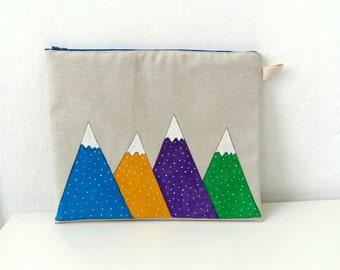 Geometric  Mountains Clutch, Ipad Sleeve, Gadget case /women accessory