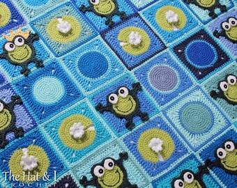 CROCHET PATTERN - Frog Frenzy - a frog afghan pattern, crochet blanket pattern, frog blanket pattern, boy blanket - Instant PDF Download