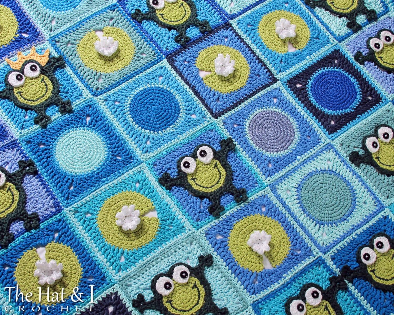 Crochet Blanket PATTERN - Frog Frenzy - crochet pattern for baby ...