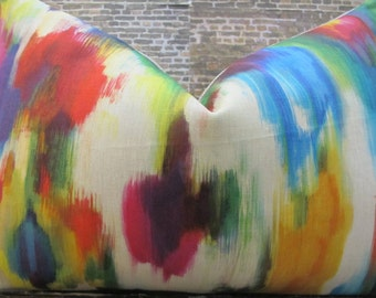 Designer Pillow Cover - Lumbar, 18 x 18, 20 x 20, 22 x 22, 24 x 24, 26 x 26 -  Multi Ikat Linen Watercolor