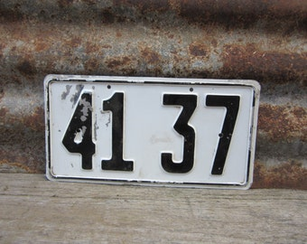Vintage Number Sign # 41 37 Black & White Metal Sign Boat License Plate Small Metal 1960s 1970s Era # Sign Wall Decor vtg Digit Numeral Old