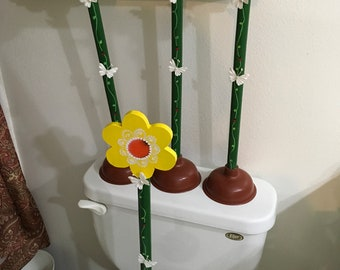 Plunger Upcycled Floral Hot Pink Aqua Purple Yellow Bathroom Decor Handmade Hand Painted Gift Idea