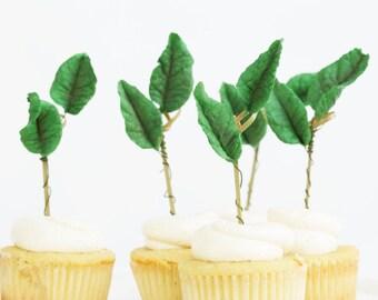 12 Cupcake Toppers, Gum paste Leaves, Cupcake Toppers, Sugar Leaves, Edible Sugar Leaves, Weddings, Decoration, Showers, Celebration