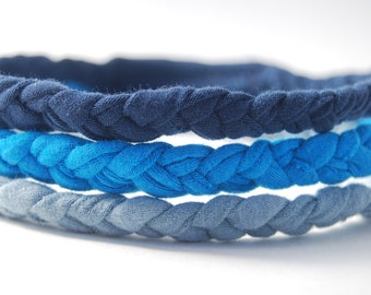 Eco Friendly Braided Headband - Boho Chic - Blue Set - Upcycled - Organic Clothing