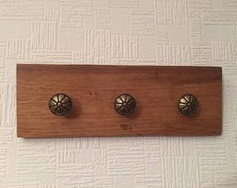 Oak & Brass Flower Hooks