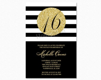 Gold 16th Birthday Party Invitation, Black and White Stripes, Sweet Sixteen Birthday Invitation, Milestone Birthday, Printable or Printed