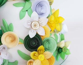 Medium Assortment of Mixed Size Paper Flowers for Cake Decoration