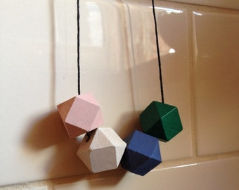 Young At Heart 20mm Geometric Wooden Beaded Necklace