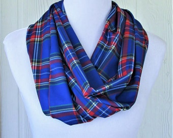 Infinity Scarf, Blue and Red Plaid, Fashion Scarf, Necklace Scarf, Women's Scarves, Eclectasie