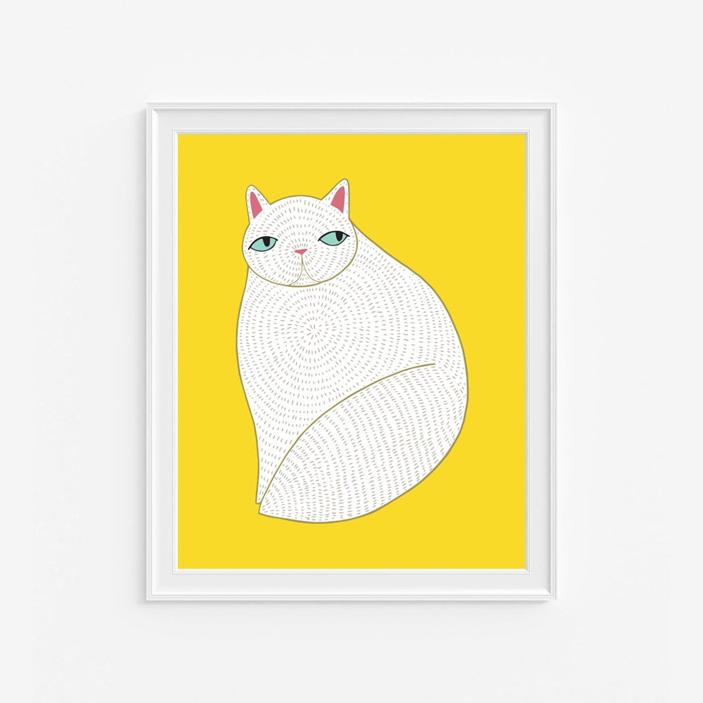 White Cat Art Print, Cat Wall Art, White Cat Wall Art, Cat Decor ...