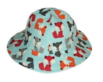 Baby Sun Hat, Fox Baby Hat, Boys Hat, Summer Hat, Newborn Hat, Toddler Sun Hat, Childrens Cotton Hat, Wide Brim Hat,  Floppy Beach Hat