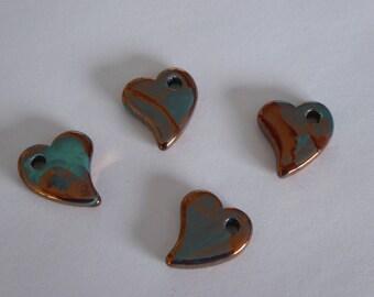 1 pendant heart ceramic blue and copper 22x19mm