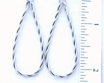 Sterling Teardrop Twist Earrings, Handmade, Lightweight