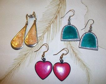 Vintage Enameled Lot of 3 Earrings Beige Pearled Tear Drop Teal Drop and Valentine Heart