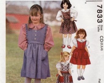 Girl's Jumper and Blouse, McCall's 7833 Sewing Pattern, Multi-Size 2, 3, 4, Uncut Vintage