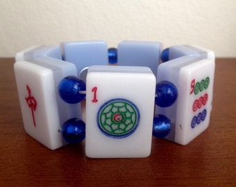 Mahjong bracelet / ice blue layered tiles / blue foil beads / game piece jewelry / beaded tile bracelet / mahjong jewelry / free gift bag