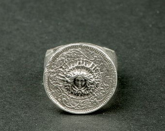 Silver Sun King Knight ring (sterling silver ring / Renaissance / prints) / Louis XIV