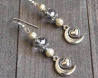 Silver Moon & Heart Earrings Crescent Moons Platinum  Crystal Beads and Gold Stardust Beads Sterling Silver Earwires