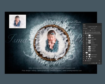 Digital backdrop - PSD file with layers - Handmade wooden bowl with wool  - Beautiful Digital background for Newborn Photography